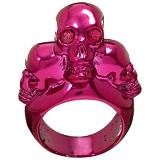 Alexander McQueen : FUSCHIA TRI SKULL COCKTAIL RING