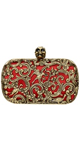 Alexander McQueen : RED ORNATE SKULL CLUTCH :  black eyes skull birds