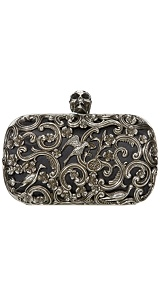 Alexander McQueen  BLACK ORNATE SKULL CLUTCH