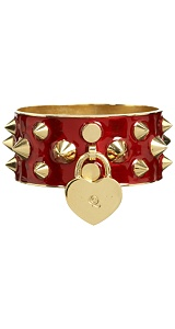 Alexander McQueen : RED PUNK HEART CUFF :  gold finish stud and heart charm cuff bracelet designer jewelry womens