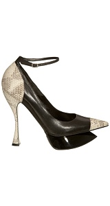 Alexander McQueen Black Runway Platform :  heels court shoe lizard skin alexander mcqueen